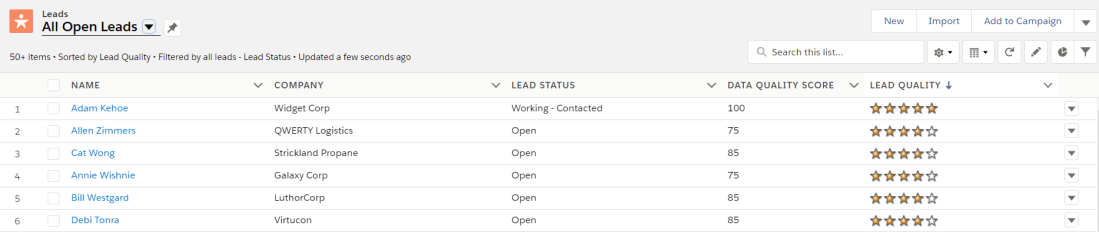 Lead Rating in list view